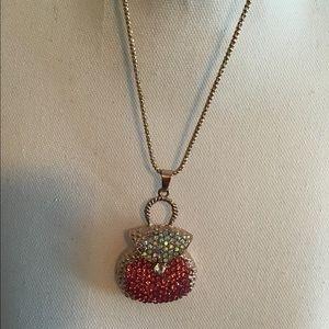 Betsey Johnson Rosegold purse Necklace rhinestone